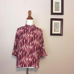 14th & Union Mock Neck Ruffle Sleeve Pink Blouse M
